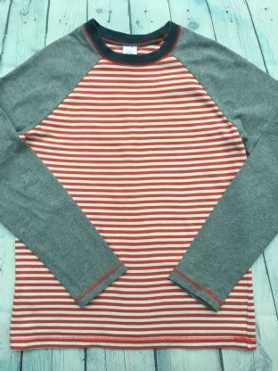 Mini Boden raglan long sleeved red and white striped top age 11-12
